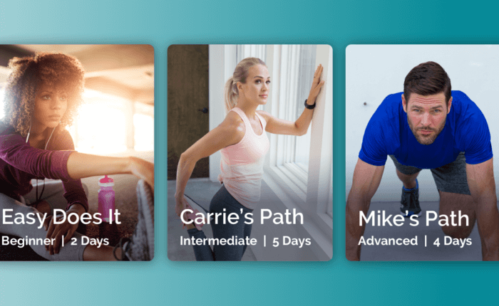 A preview of three path levels from the fit52 app