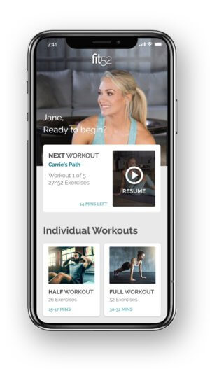 Fitness app fit52 main page of app