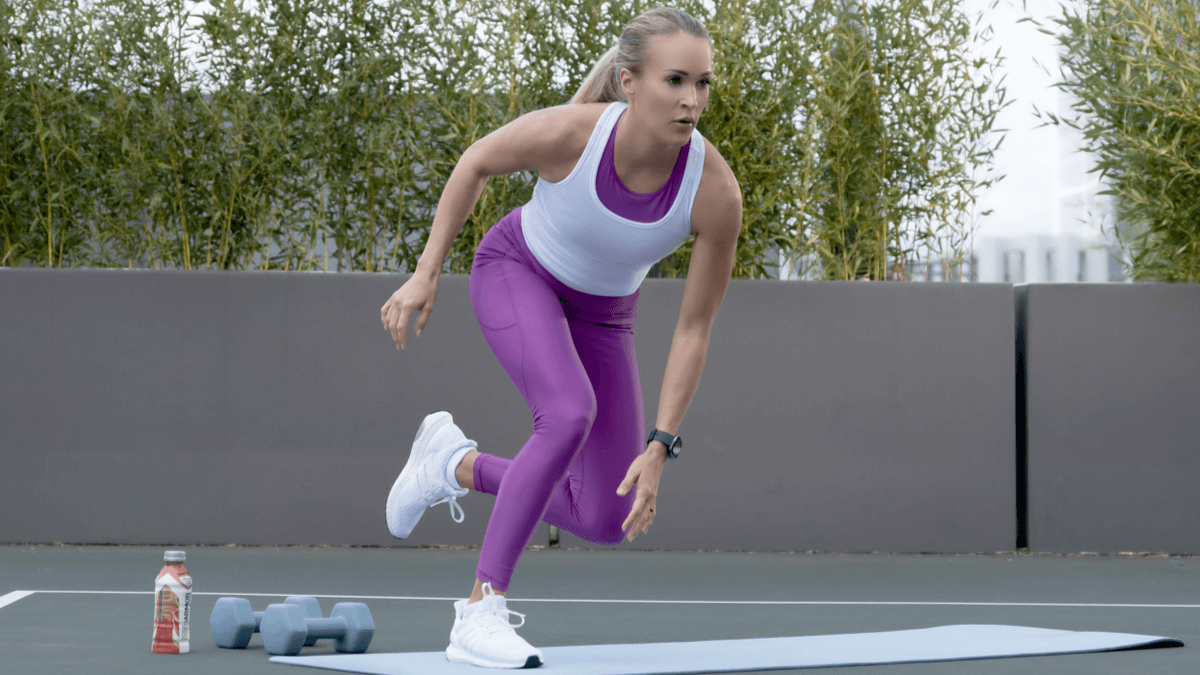 Carrie Underwood demonstrating lower-body move to tone your legs