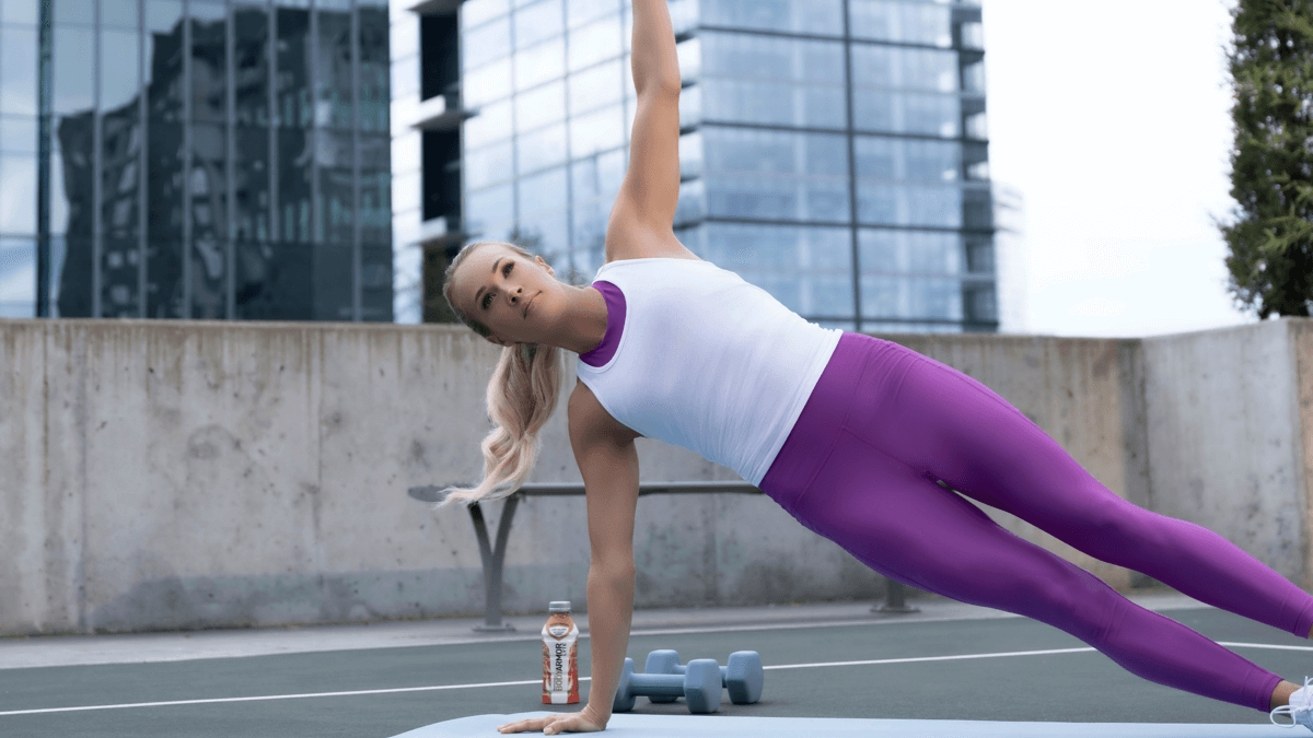 Carrie Underwood demonstrating side plank